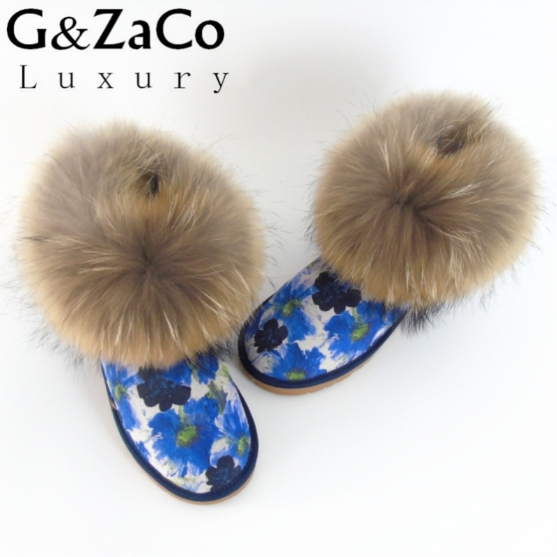 G&Zaco Natural Big Fox Fur Snow Boots Inside Natural Wool Women Snow Boots Cow Suede Printing Flower Genuine Leather Flats Shoes high quality gm620 digital lcd display wood moisture meter 2 70% humidity tester timber damp detector portable