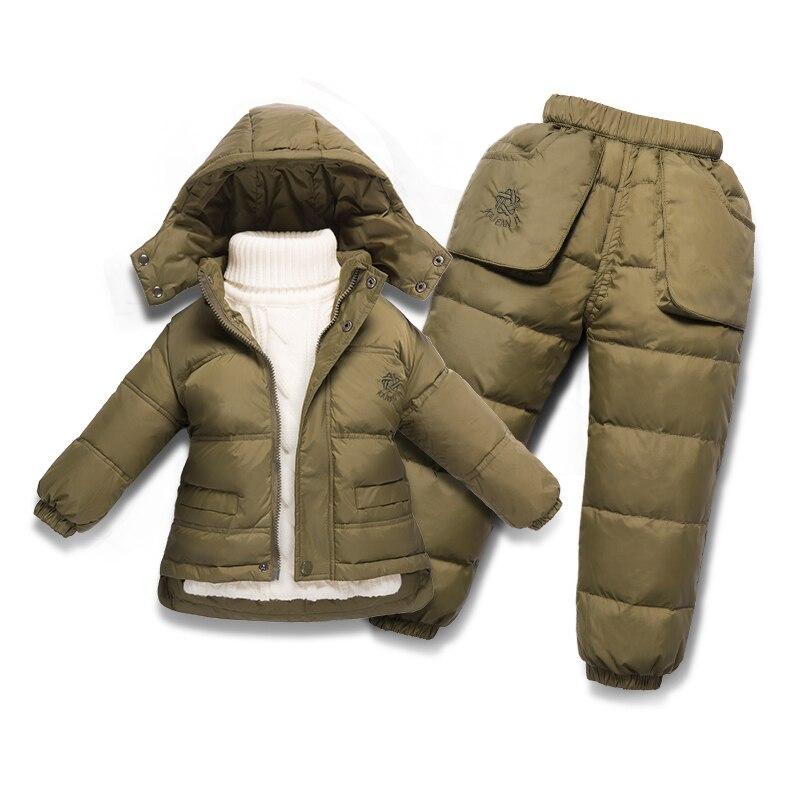 Здесь продается  Russian Winter Warm Baby Boys Girls Snowsuit Children Duck Down Coats Jacket Pants Set  Детские товары