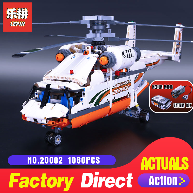 1060Pcs Lepin 20002 echnic series Double rotor transport helicopter Model Building blocks Bricks Compatible 42052 Boy toys new lepin 20002 technology series mechanical group high load helicopter blocks compatible with 42052 boy assembling toys