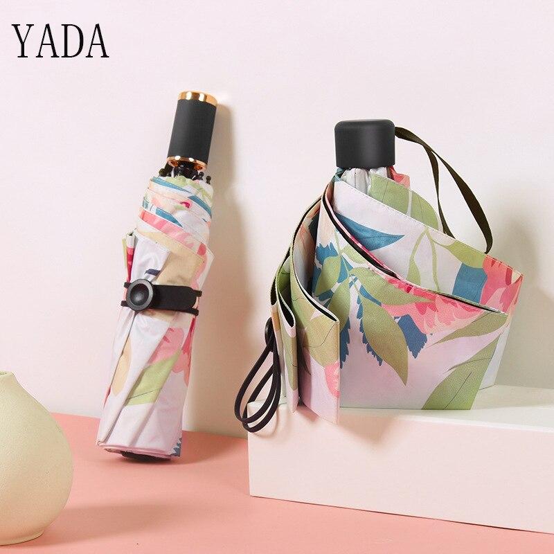 YADA Summer Flowers Birds Charms Folding Umbrella Rain Women uv High Quality Umbrella For Womens brand Windproof Umbrellas YS193 in Umbrellas from Home Garden