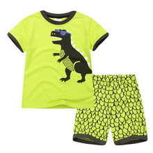 2019 New Pajamas Boys Short-sleeved Yellow Dinosaur Childrens Clothing Cotton Casual Clothes
