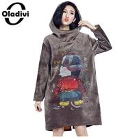 Oladivi 2017 Autumn Winter Women Long Hoodie Dress Plus Size Loose Pullover Casual Long Sweatshirt Add