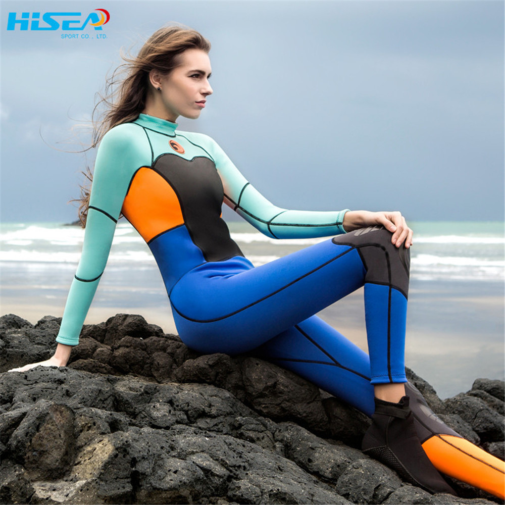 2018 High quality 1.5mm women neoprene wetsuit color stitching Surf Diving Equipment Jellyfish clothing long-sleeve piece fitted