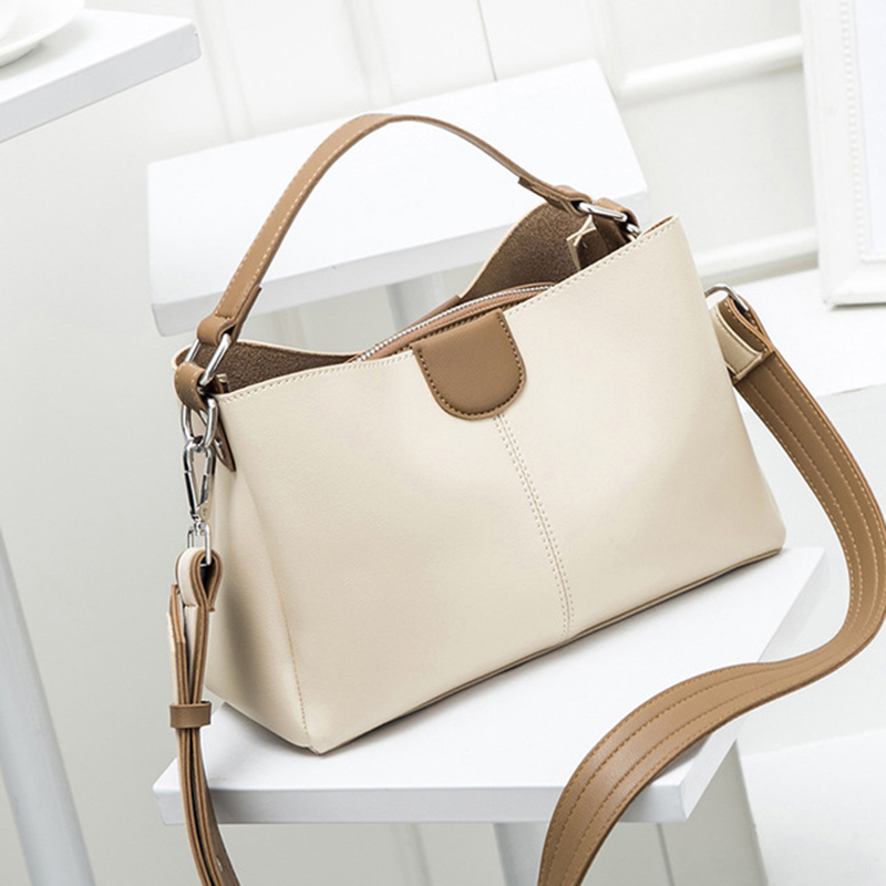 RanHuang 2019 Women Fashion Tote Bags High Quality Pu Leather Handbags Ladies Casual Shoulder Bags Beige Messenger Bags