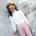 School Girl Blusa 5 6 7 8 9 10 11 12 13 14 15 Años de Adolescente Niñas Moda Camisa Desgaste de Los Niños Cabritos de La Manga Larga Camisa Blanca