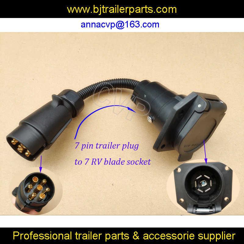 Cvp Trailer Plug Adapter 13 Pin Trailer Socket To 7 Pin Rv Blade Plug Connector Plug Trailer