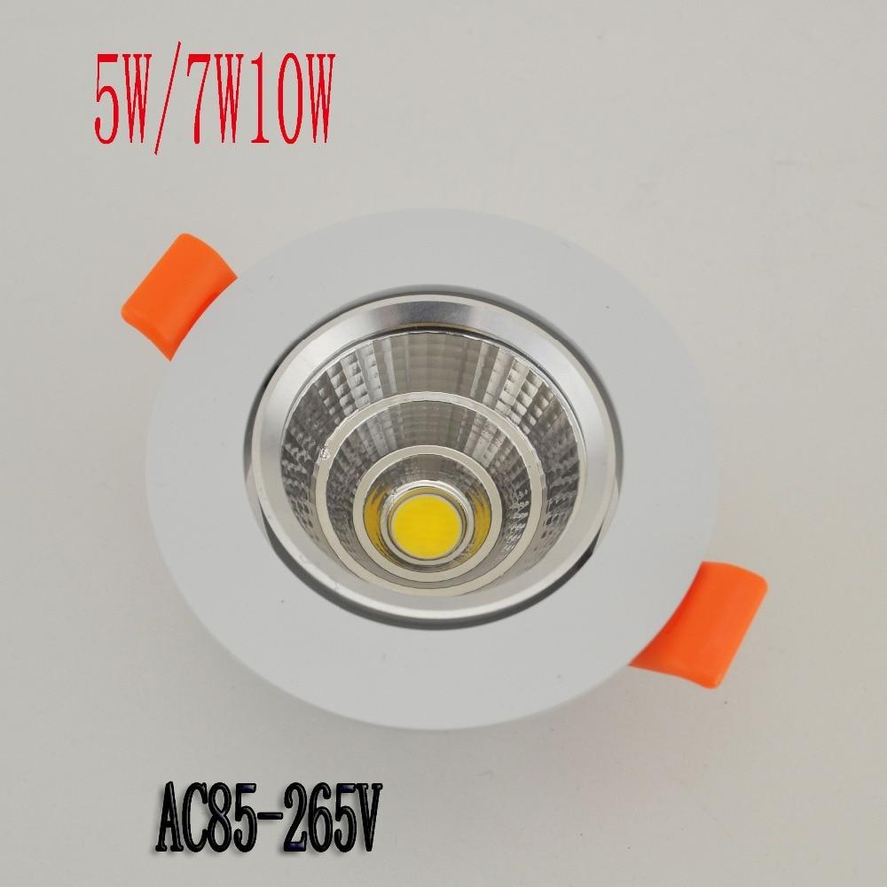 Новый LED COB Потолочный светильник 5W 7W 10W LED COBChip LED встраиваемый потолочный светильник Фонари Бесплатная доставка