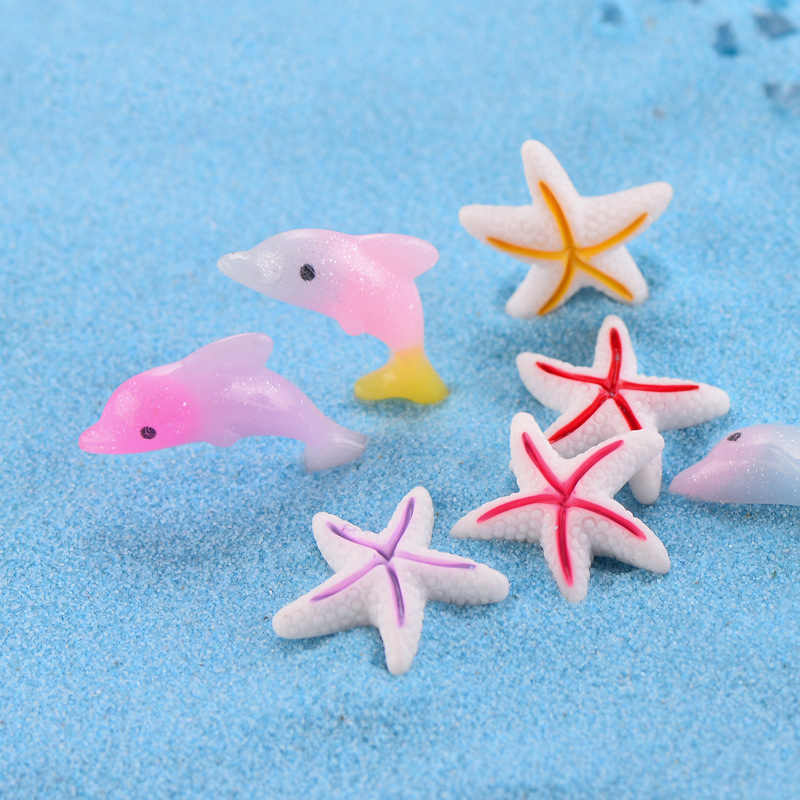 ZOCDOU 1 Piece Sea Zoo Dolphin Starfish Sea Fish Star Model Small Statue Figurine Little Crafts Ornament Miniatures Home Decor