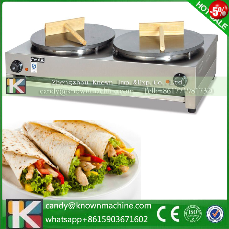 220V 50HZ crepe making machine with 2 pans