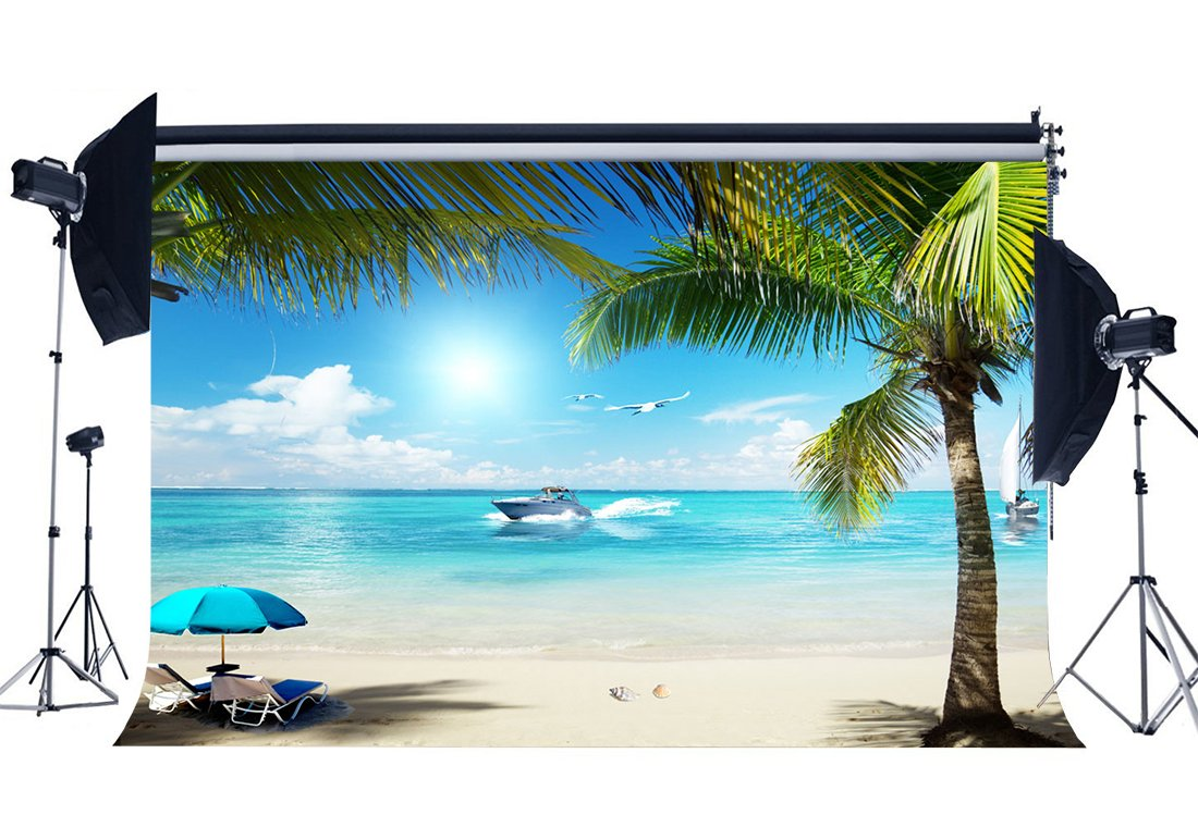 Seaside Sand Beach Backdrop Ship Coconut Palm Sunshade Shell Blue Sky White Cloud Background Kids Adults-in Photo Studio Accessories from Consumer Electronics