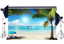 Seaside Sand Beach Backdrop Ship Coconut Palm Sunshade Shell Blue Sky White Cloud Background Kids Adults