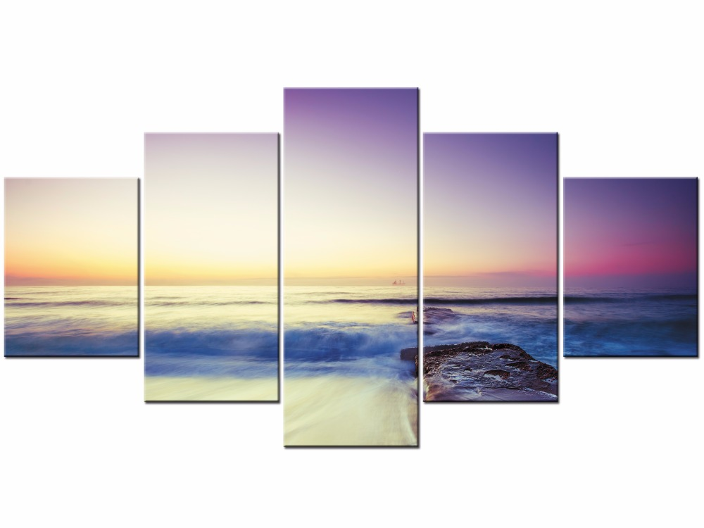 Sunset Over Seawaves Landscape Poster Prints Wall Art Decoration Pictures