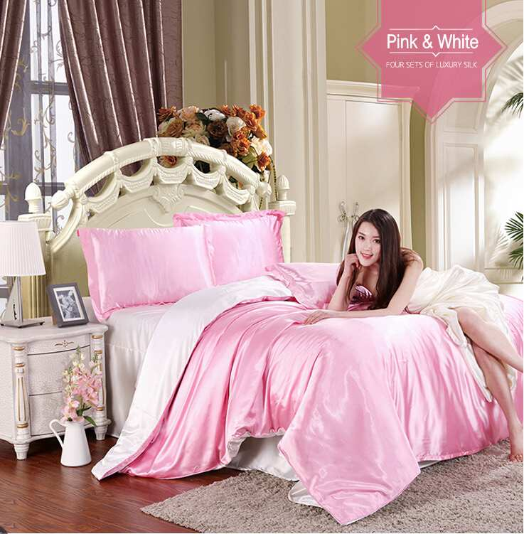 Pure Color Home Textile Pink and White imitated silk bedding set queen king 3/4pcs Soft Satin duvet cover bed sheet pillow coverPure Color Home Textile Pink and White imitated silk bedding set queen king 3/4pcs Soft Satin duvet cover bed sheet pillow cover