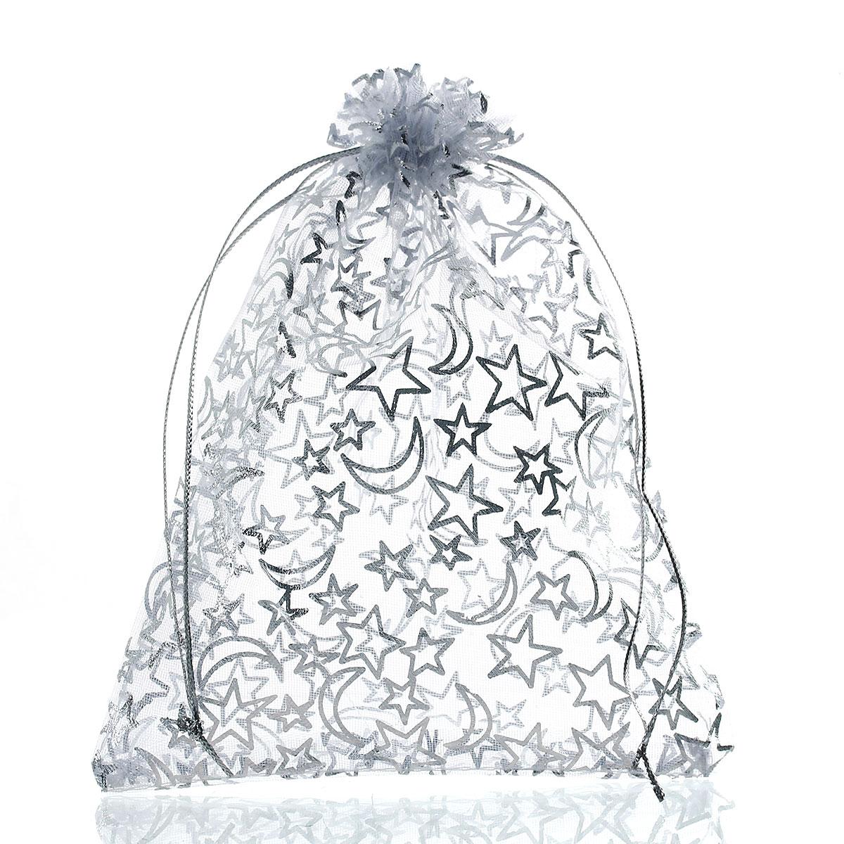 Jewelry-Bags Doreen-Box Organza Drawstring Rectangle 16cm White Star 5-1/8-Moon-Pattern