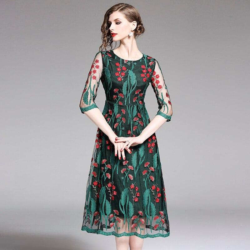 Nouveau été femmes longue robe fleur arbre broderie maille dentelle robes vert A012