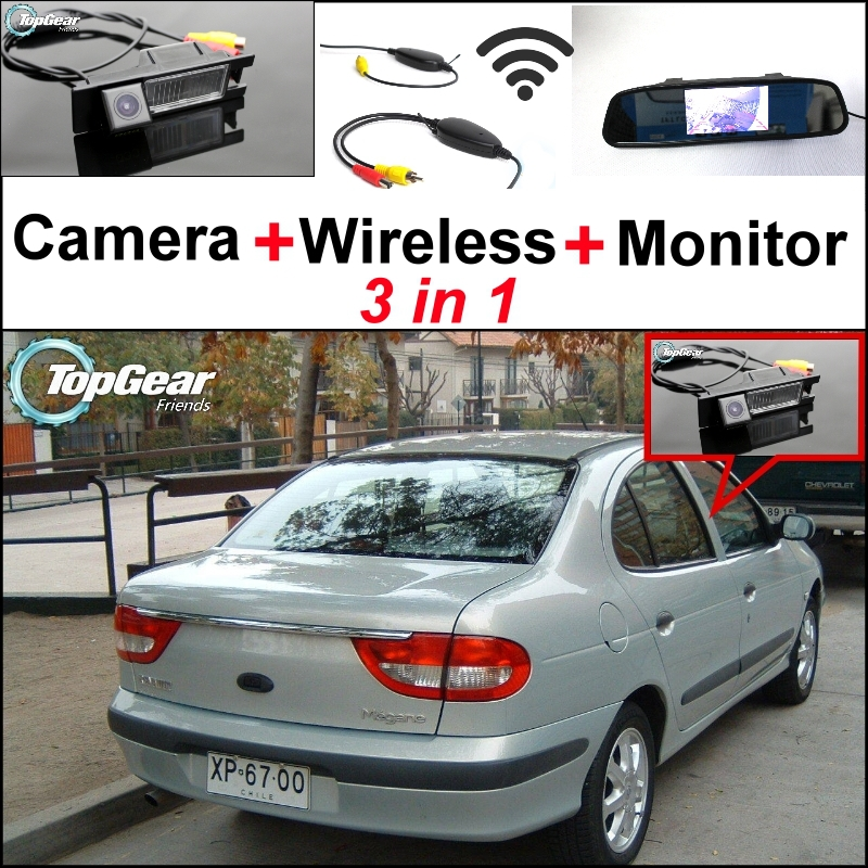 3 in1 Special WiFi Rear View Camera + Wireless Receiver + Mirror Monitor Backup Parking System For Renault Megane 1 I 1995~2002 for ford escape maverick mariner car parking sensors rear view back up camera 2 in 1 visual alarm parking system
