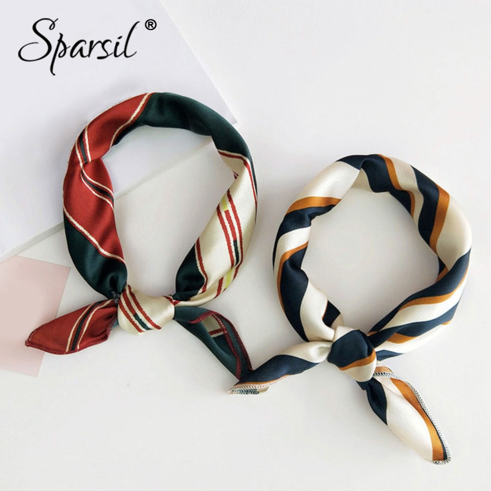 Spasril Women Stylish Square Scarf 50*50 Soft Silk Satin Small Scarves Female Hair Bands Trend Office Lady Printing Neckerchief