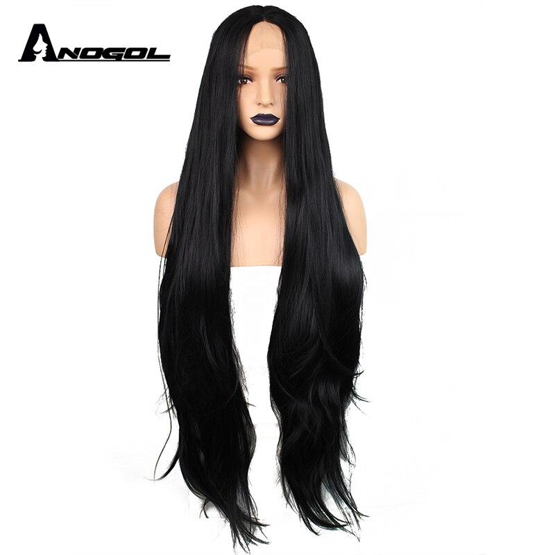 Anogol Longo Natural Onda Parte Do Meio de Alta Temperatura da Fibra de Cabelo Sintético Lace Front Wigs Glueless Preto Para As Mulheres