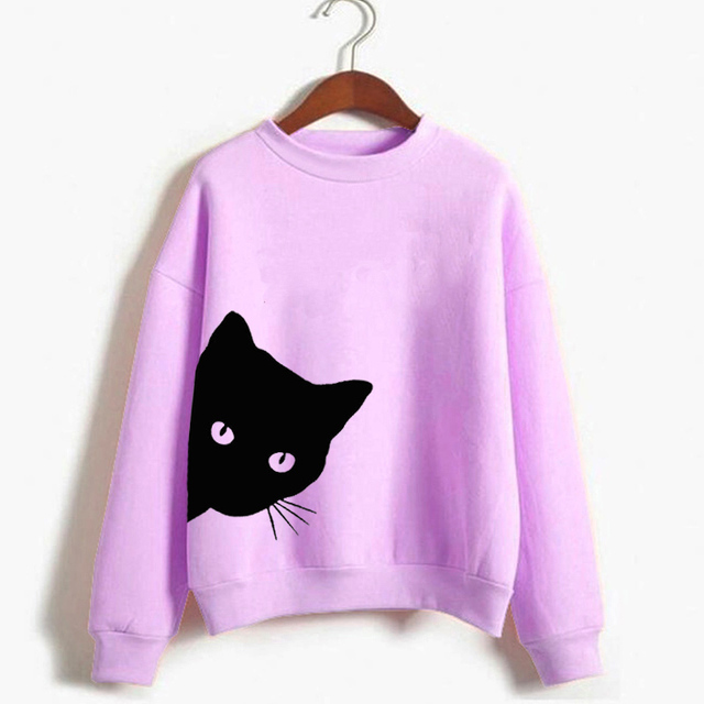 Peeking Cat Hoodie Women Funny Cat Looking Out Side Print Crewneck Sweatshirt Long Sleeve Kawaii Hoodies For Lady Girls Hipster
