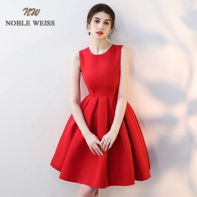 NOBLE WEISS Elegant O-Neck   Prom   Gowns A-Line Formal Evening Gown Short Satin   Prom     Dress   Free Shipping