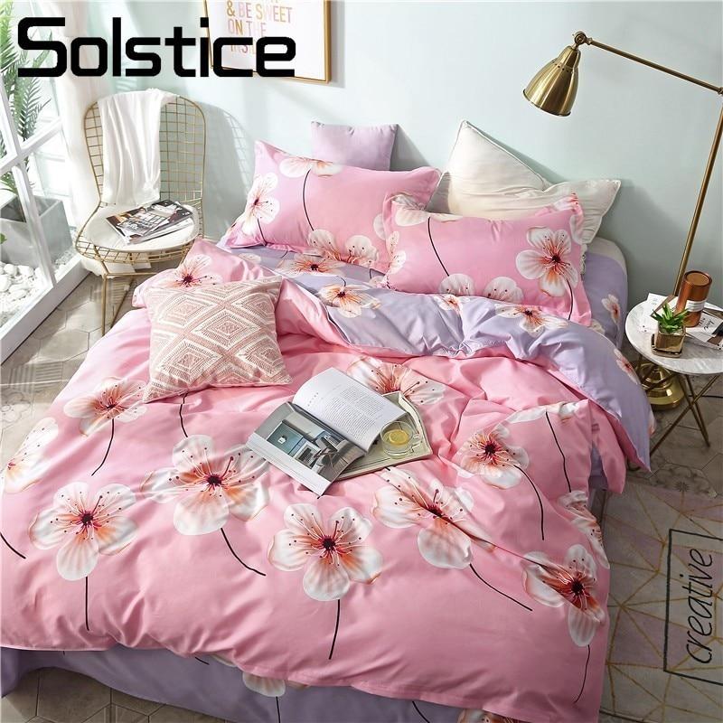 Solstice Home Textile Girl Bedding Set Pink Flower Duvet Cover Pillowcase Bed Sheet King Queen Twin Linen Kid Teen Bed Cover Set