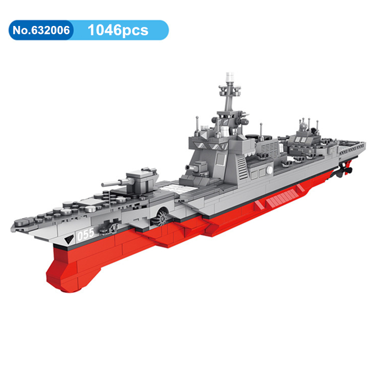 DIY 1046pcs Military 055 Missile Destroyer Warship Building Blocks War Weapon Model Bricks Compatible With Legoing Toys For KidsDIY 1046pcs Military 055 Missile Destroyer Warship Building Blocks War Weapon Model Bricks Compatible With Legoing Toys For Kids