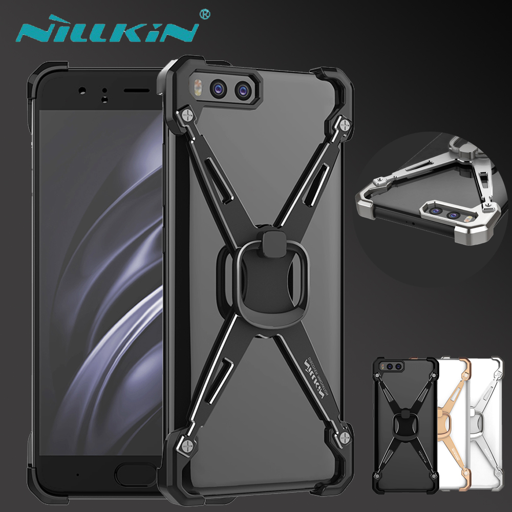 Xiaomi Mi 6 Case NILLKIN Barde Metal Plated Aluminum Alloy Bumper Cover With Kickstand Ring Holder For Xiaomi Mi 6 Mi6 + Package
