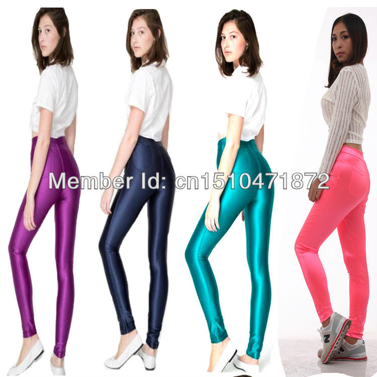 10 Farben Neue Frühlingsmode glänzend bunt dünn AA Disco Hosen - Damenbekleidung - Foto 5