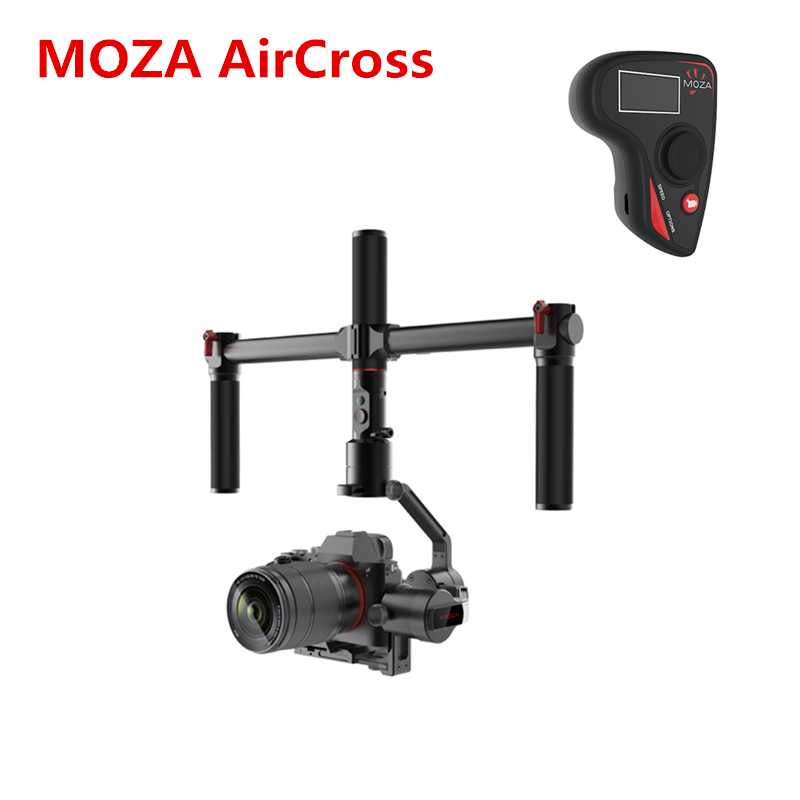 MOZA AirCross 3 Axis Stabilizer Dual handheld Gimbal Handle Wireless remote for Mirrorless 1.8KG SONY A7 Panasonic GH5 VS ZHIYUN zhiyun z1 rider m 3 axis wearable camera gimbal stabilizer app wireless remote control for gopro 3 4