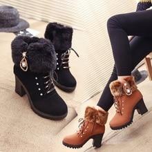 Лидер продаж года; женские ботинки; ботильоны для женщин; ботинки на высоком каблуке; зимняя женская обувь; теплые ботинки на толстом каблуке; Размеры 35-41; Botas Mujer