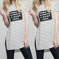 Nuevo Estilo Del Verano de Las Mujeres Camiseta de Rayas Carta Camiseta Impresa Casual Side Dividir Loose Tops #5 k