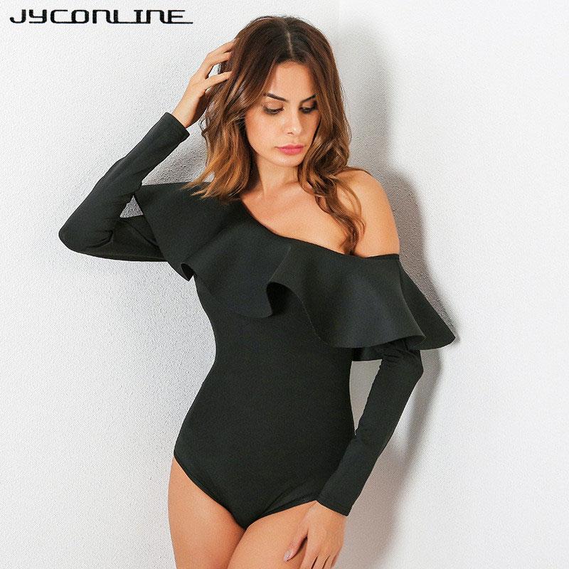 JYConline 2017 One Shoulder Bodysuit Women Body Top Ruffles Jumpsuit Sexy Rompers Womens Jumpsuit Playsuit Combinaison Femme