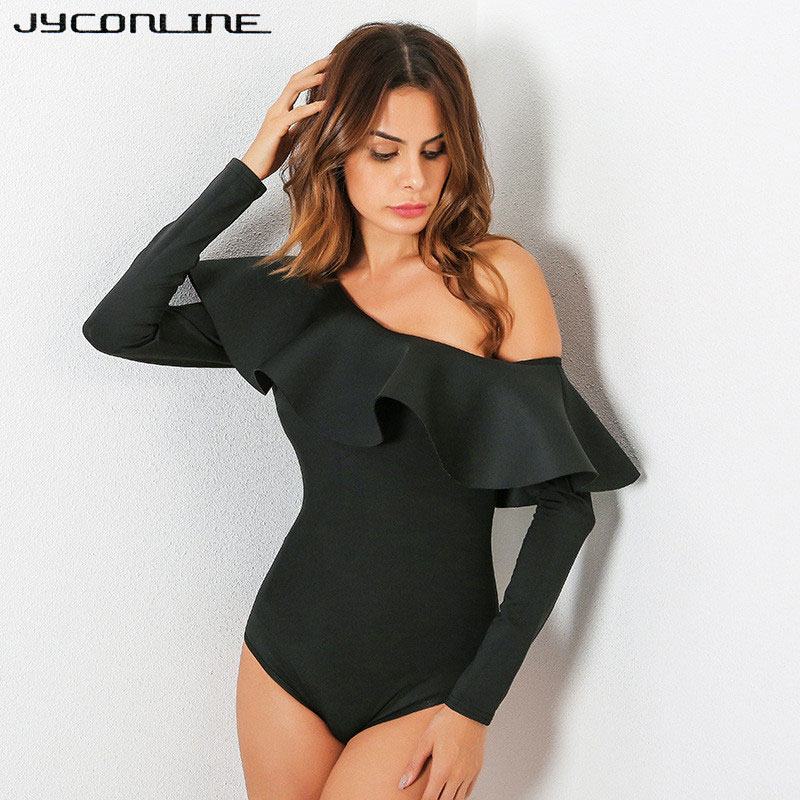 JYConline 2019 One Shoulder Bodysuit Women Body Top Ruffles Jumpsuit Sexy   Rompers   Womens Jumpsuit Playsuit Combinaison Femme