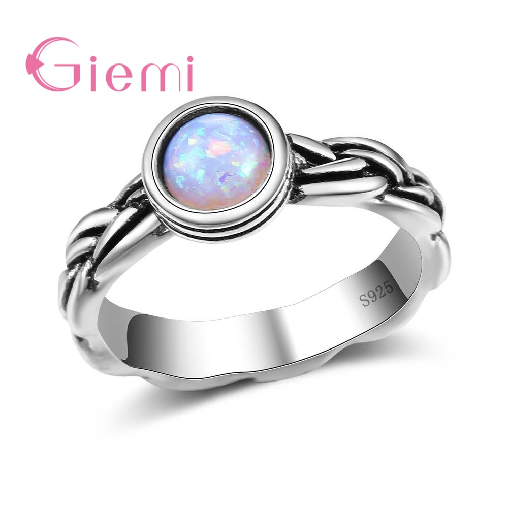 GIEMI Elegant Trendy Unique Design Prong Setting 925 Sterling Silver Round Opal Rings Women Girl Valentines Gift Hot Sale