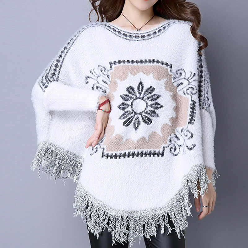 Christmas Sweater Dress Loose Cloak Batwing Sleeve Print Thick Jumper Tassel Design Warm Fluffy Women Winter Sweaters Poncho