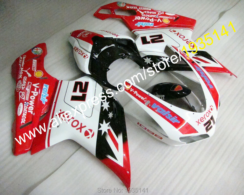 Hot Sales,Body kit Cowling For Ducati 848 1098 1098S 1198 Motorcycle Fairing set 2007 2008 2009 2010 2011 (Injection molding)