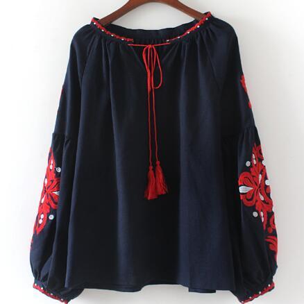 Top Étnica Larga Más Collar Mujer Borla Manga Camisa Vintage Up Bordado Tamaño Flor Blusa Ah331 Encaje vFWdnHwq