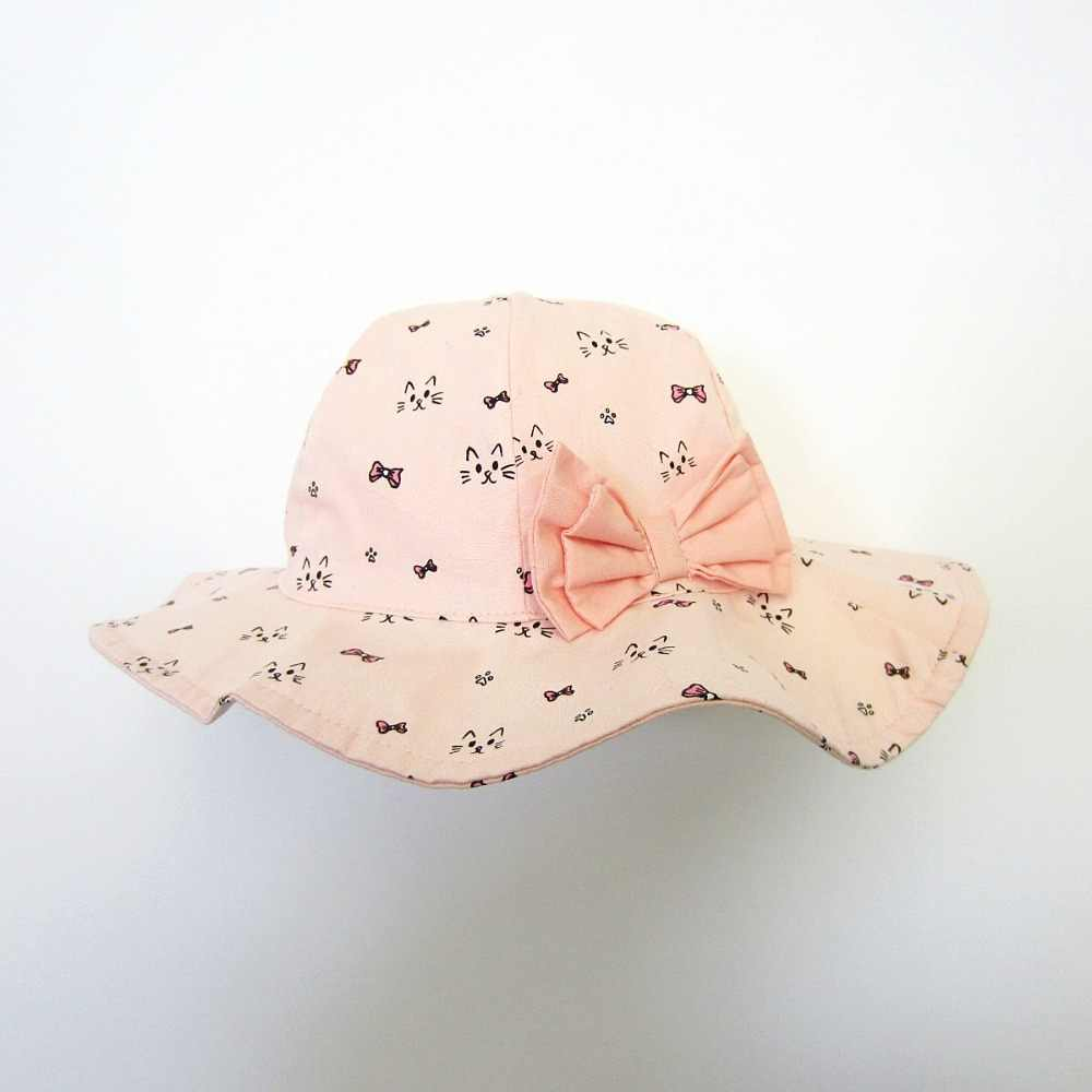 b076d9ab ... Girl's Sun Hat Baby Pink large Hat Flower Deco Kids Cap Spring Fashion  Summer ...