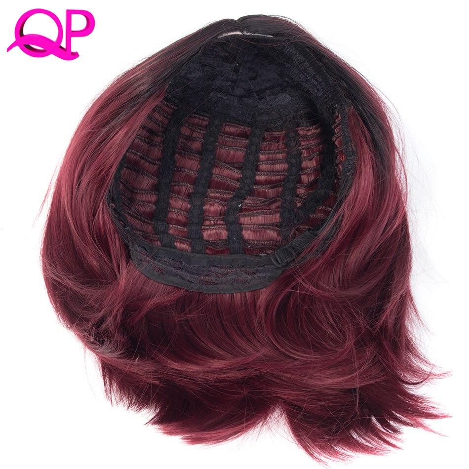 qp cheveux synthétiques courts bordeaux bob ombre rouge perruques