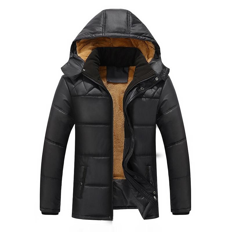 Winter Coat Men Black Puffer Jacket Warm Male Overcoat Parka Outwear Cotton Padded Hooded Coat Men's Cotton Jackets