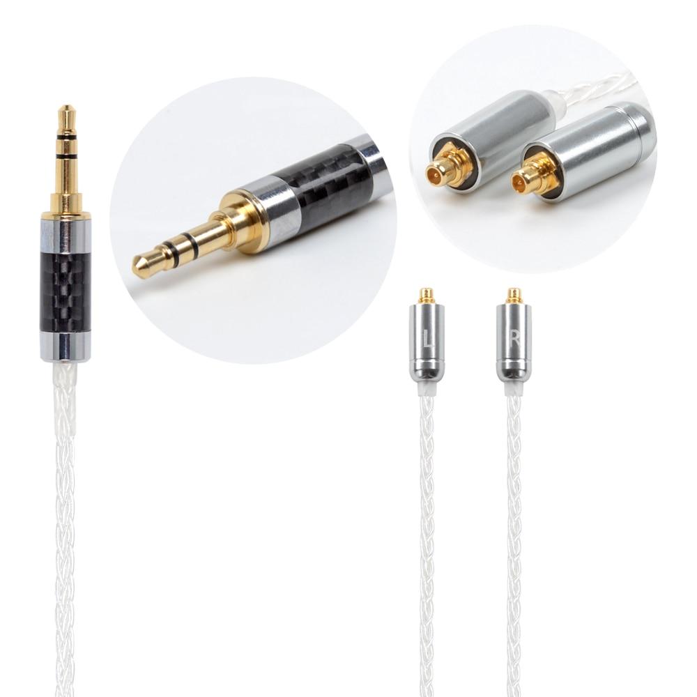 NICEHCK MMCX/2Pin Connecteur 3.5/2.5/4.4mm Équilibré 8-Core Plaqué Argent Câble Pour SE846 ZS10/ZS6 LZ A5 NICEHCK HK6 aucun Crochet D'oreille