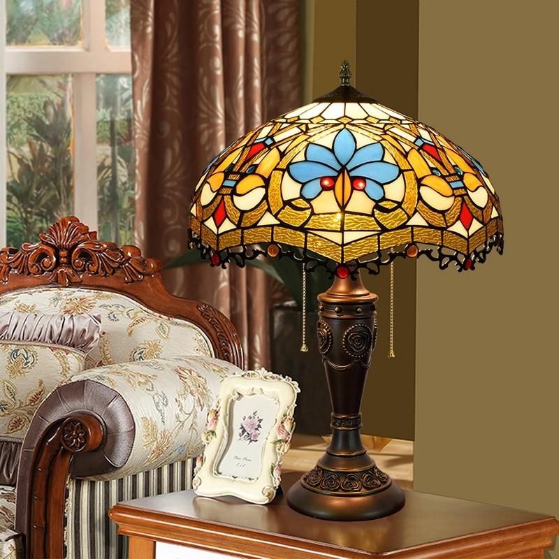 Eusolis 16-inch Mosaic Crystal Table Lamp Stained Glass Vintage Deco Maison Bohemian Style Tischlampe Lamparas Mesa De Noche eusolis 12 inch stained glass table light mosaic lamper lamparas de mesa para el dormitorio bedside lamp art deco abajur
