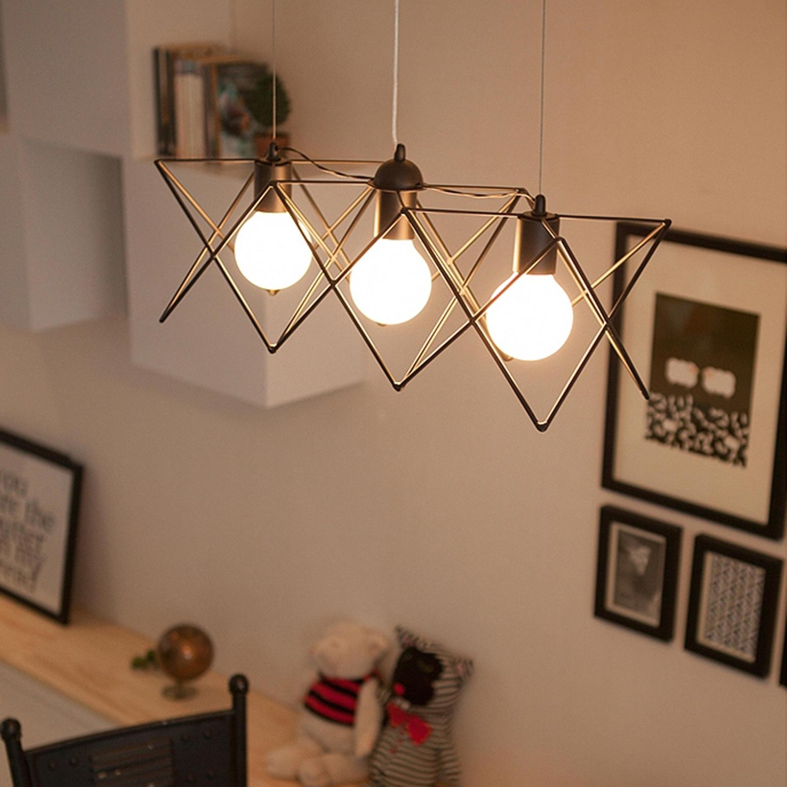 Modern Meals Pastoral 3 Head Wire Pendant Lights Restaurant Lamp American Country Living Room Lamps