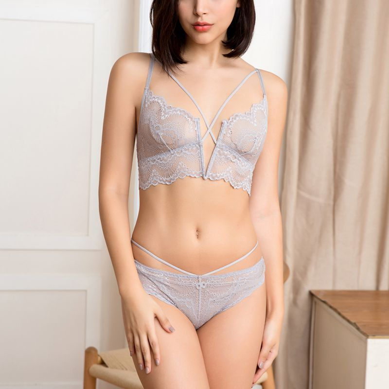 f19bdfdd38920 2019 Women Bra Sexy Lingerie Deep V Neck Solid Color Lace Thin ...