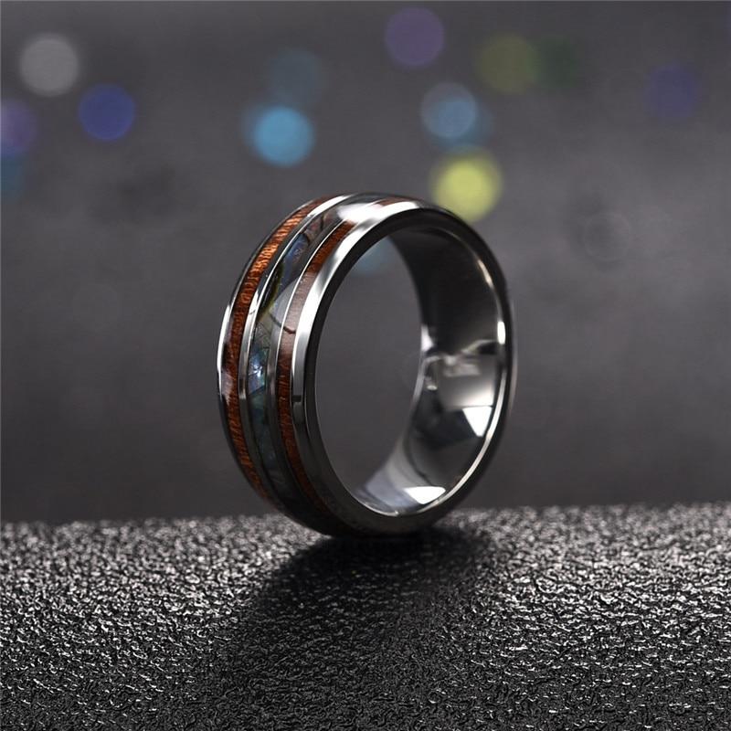 Jiayiqi Men Rings Stainless Steel Wood Grain Fashion Women Rings Male Jewelry Gifts 1