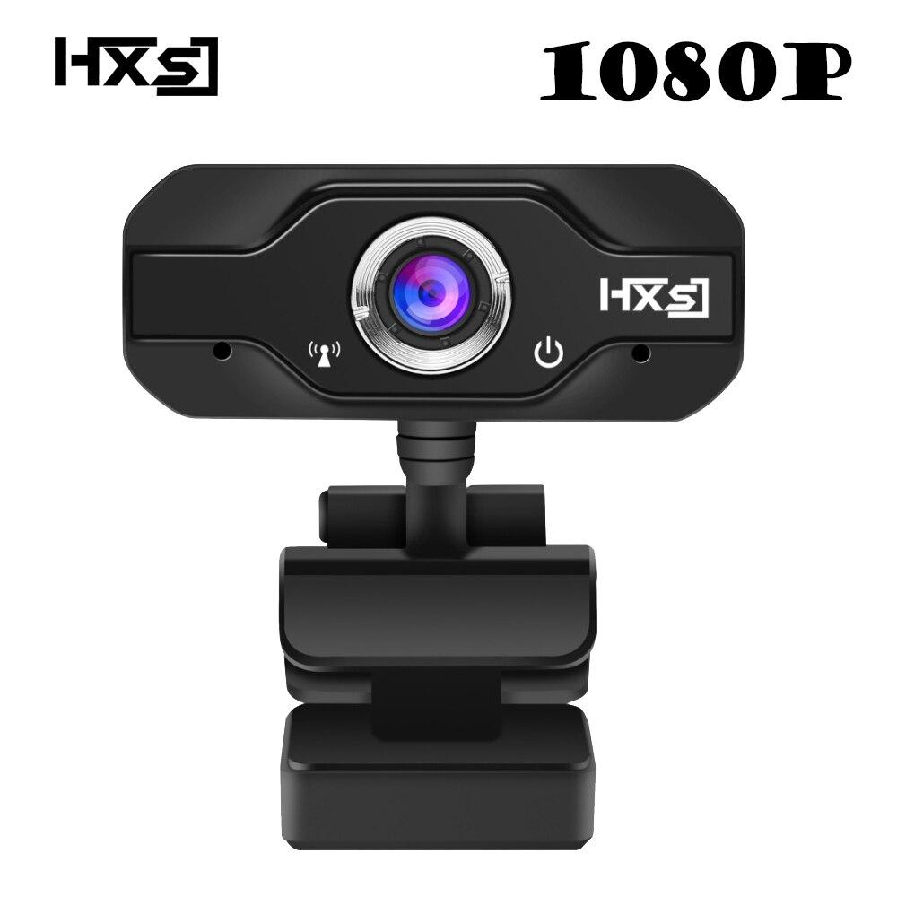 Hxsj 1080 P HD Webcam inteching USB Широкоэкранный компьютер Камера с микрофоном для ПК, настольного компьютера или ноутбука 360 градусов вращения