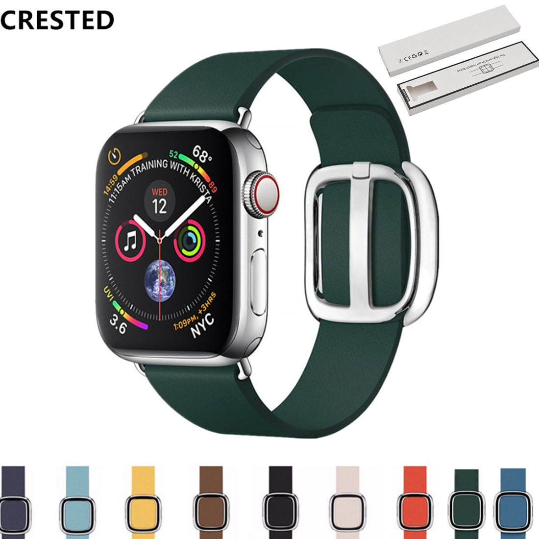 CRESTED strap For Apple Watch band apple watch 4 3 42mm/38mm iwatch band 44mm/40mm correa Modern bracelet watch AccessoriesCRESTED strap For Apple Watch band apple watch 4 3 42mm/38mm iwatch band 44mm/40mm correa Modern bracelet watch Accessories
