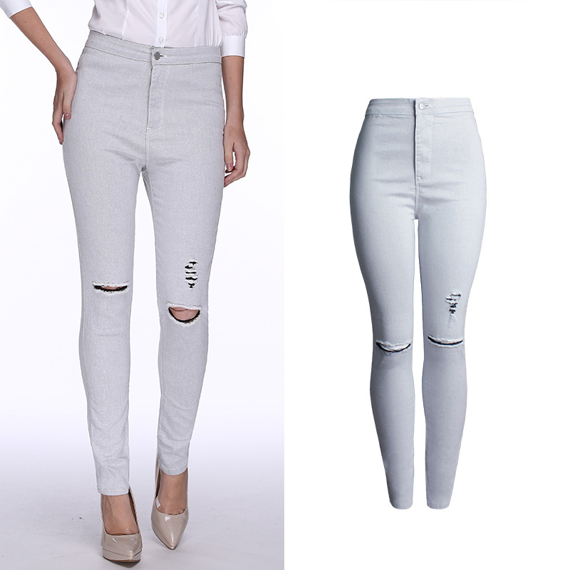 2017 Autumn Vogue Women Clothing Pure White Cotton Denim Jeans High Waist Elastane Skinny Hole Trousers Female Denim Pencil Pant