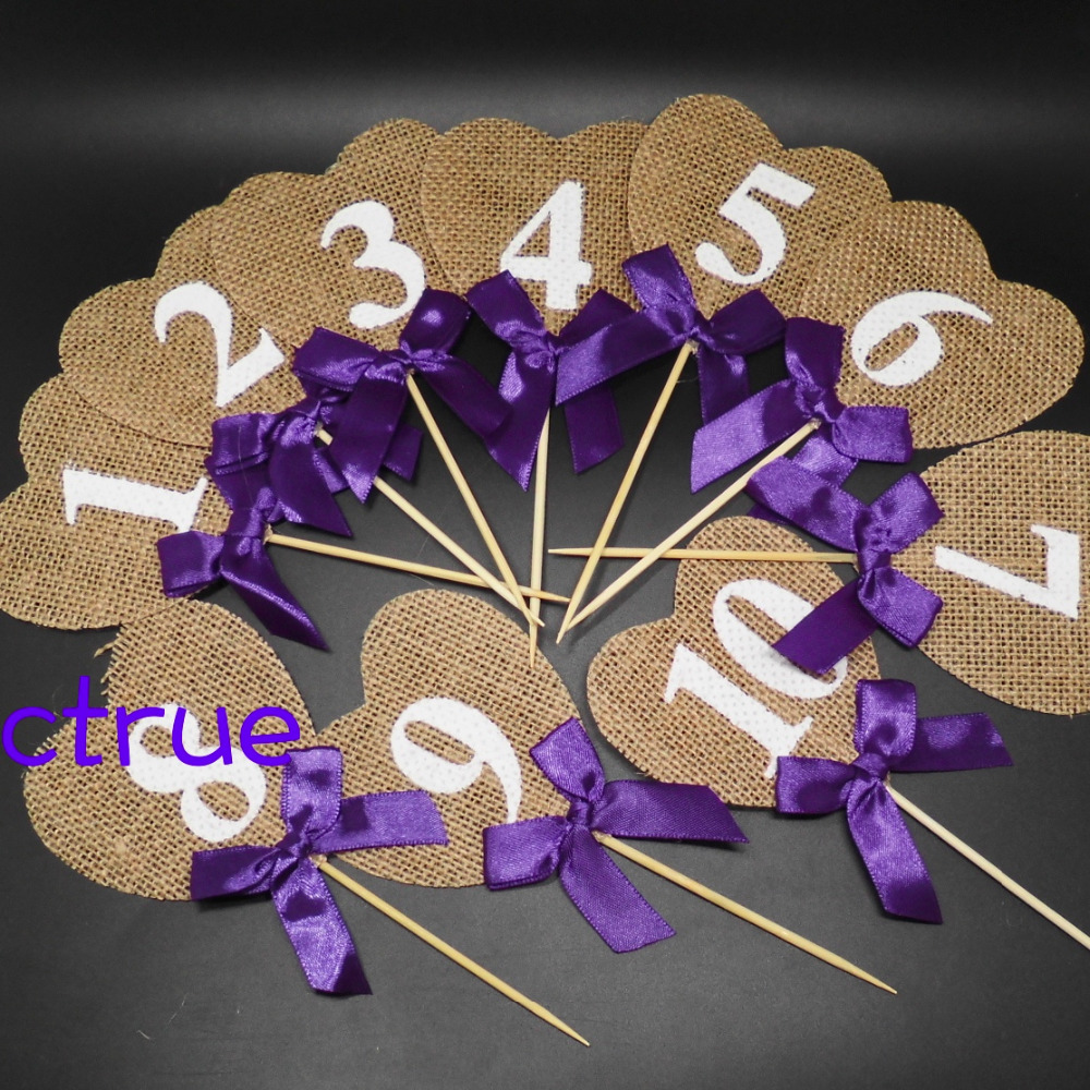 1 set 10pcs jute table number pennant flat rustic burlap for Number 4 decorations