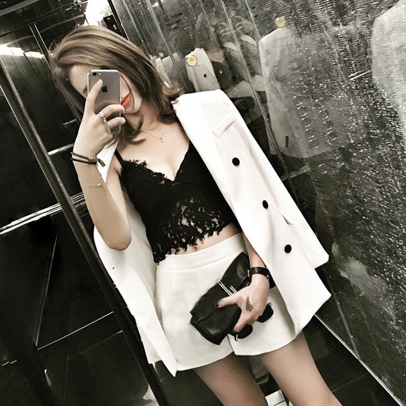 new spring women suits female Korean fashion ladies temperament thin shorts two piece set suit small